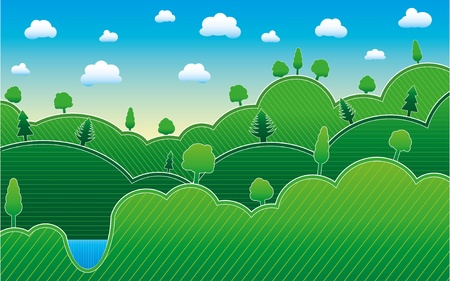 Spring or summer background with meadow, trees Vector