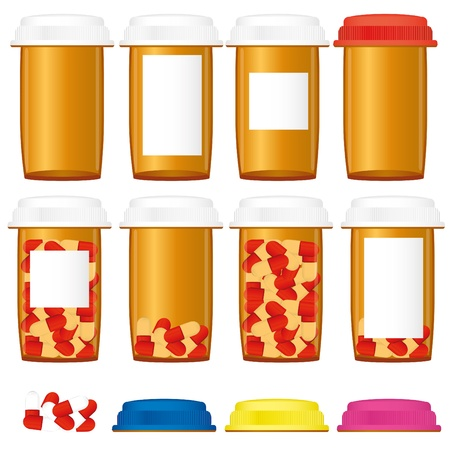 Set of prescription medicine bottles with colorful caps isolated on a white background, vector illustration