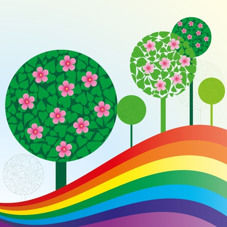 Spring or summer background with meadow, trees and rainbow, vector illustration Vector