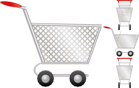 chrome cart: Set of shopping cart for online shop, icon for e-commerce, vector illustration Illustration