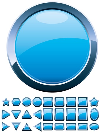 Set of 28 shiny blue glass buttons, glossy icons, web spheres, vector illustration Vectores