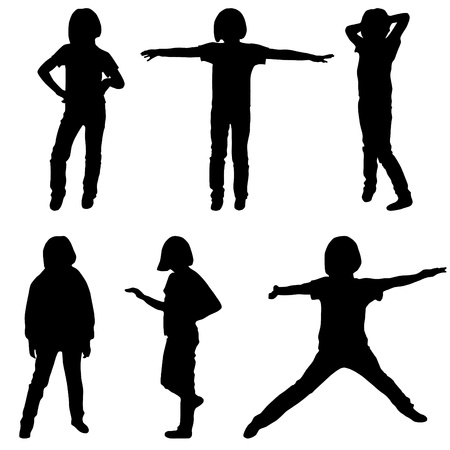 Little or teenage girls silhouettes set illustration Vector