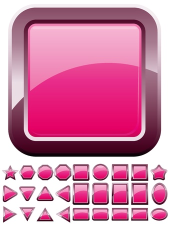 Set of shiny glass pink buttons, vector illustration Vector
