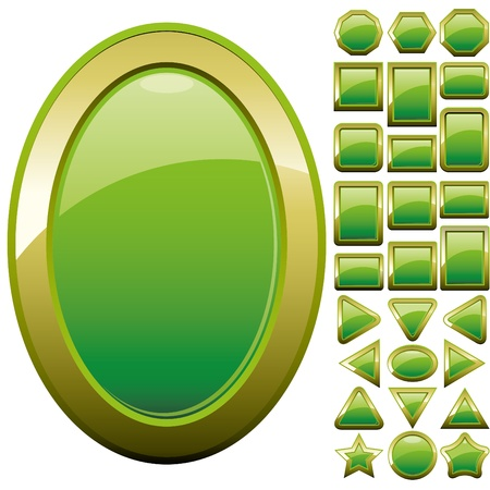 Set of green glass buttons, glossy icons, web spheres, vector illustration Vector