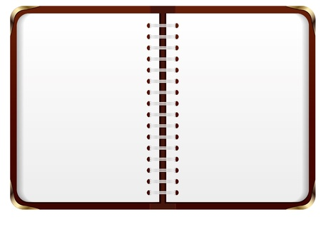Notebook with blank white sheets and brown skin