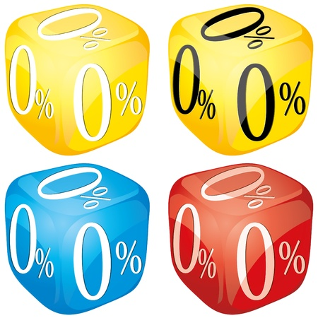 sell off: Four dices with 0 percent on side different colored, glossy loan icons, yellow, blue and red