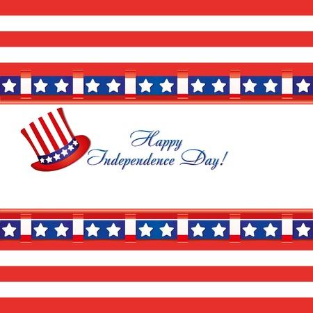 tophat: I colori della bandiera americana in un biglietto di auguri e cappello a cilindro per le celebrazioni del 4 luglio giorno dell'indipendenza, illustrazione vettoriale
