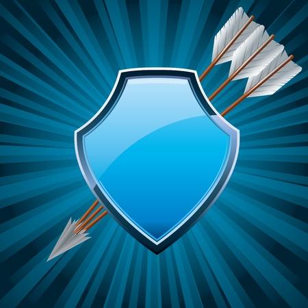 blasone: Scudo di protezione, stemma simbolo icona, decorato con le frecce, illustrazione vettoriale blu