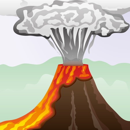 Fuming volcano with fiery lava and big column of smoke, vector illustration