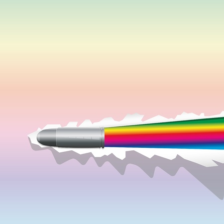 ricochet: Background with bullet breaks a sheet of paper and open rainbow  Illustration