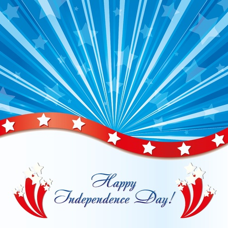 Background with elements of USA flag with congratulations and fireworks