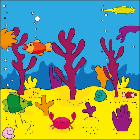 Cute illustration of sea life, marine life  Vector