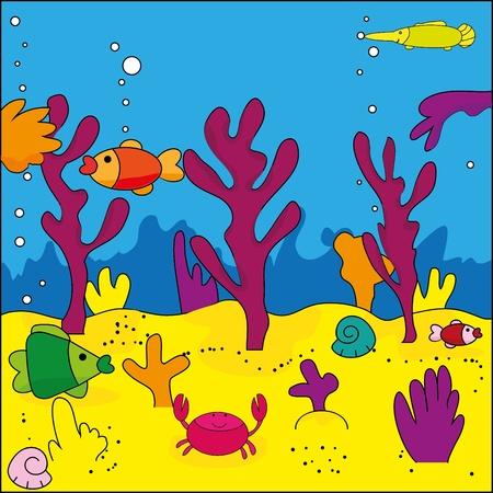 biodiversity: Cute illustration of sea life, marine life  Illustration
