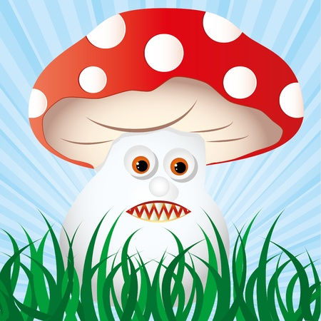 allegoric: poisonous amanita waits for it`s victims in the grass in forest