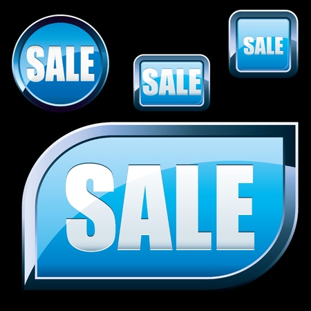 sell out: set of blue shiny sale buttons