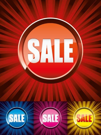 Set of colorful shiny sale buttons, vector illustration Vector