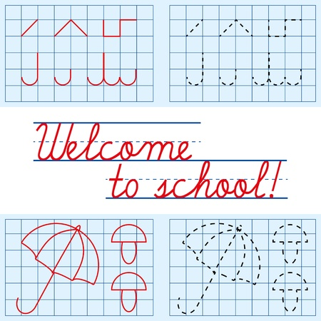 Welcome to school card, vector illustration Vector