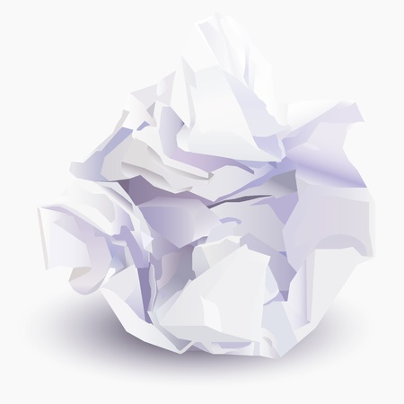 wad: Crumpled sheet of paper to paper ball, vector illustration