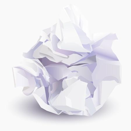 Verfrommeld blad van document aan document bal, vectorillustratie