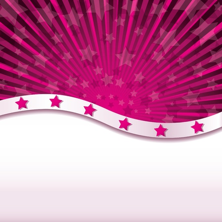 Pink abstract background with stars, Vector illustration