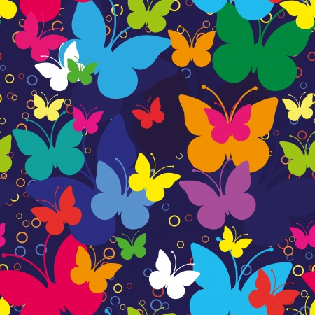 Blue seamless background with butterflies, vector illustration Vector