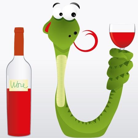 piss: Snake ubriaco mantiene calice di vino la coda e leccato in previsione di alcol, illustrazione vettoriale