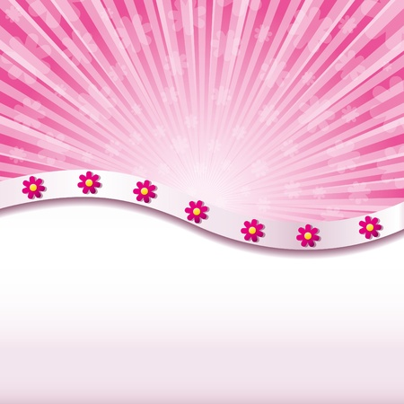 Pink abstract background with flowers Vector