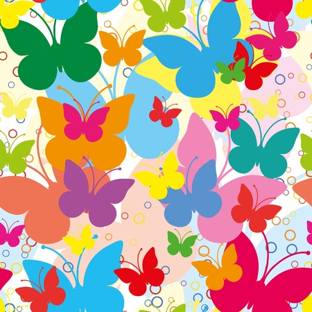 feminine beauty: Vivid seamless background with butterflies Illustration