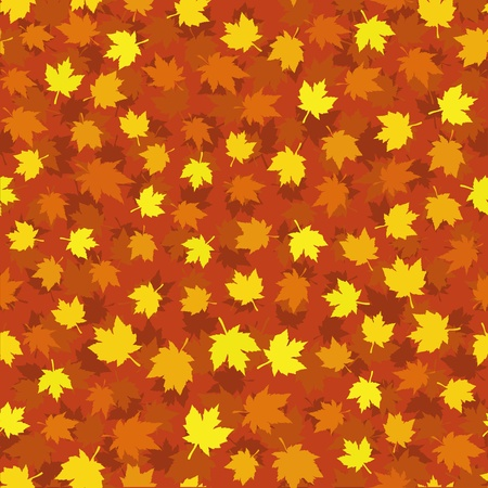 Autumn seamless background with maple leaves Vector