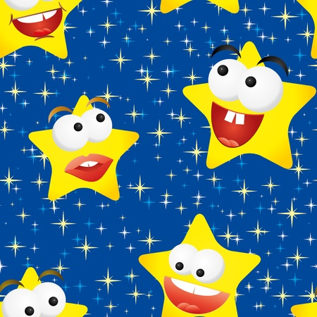 Funny stars in the night sky, seamless background Vector