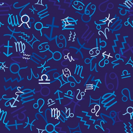 Blue seamless pattern with zodiac icons Vector