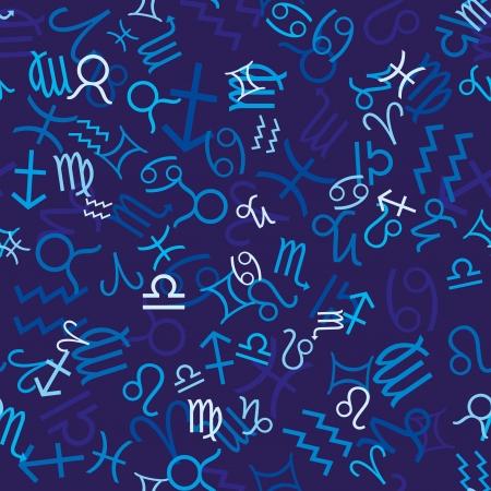 escorpio: Patr�n transparente azul con iconos Zodiaco
