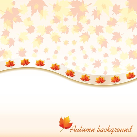 defoliation: Autumn background with maple leaves, vector illustration