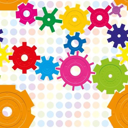 Seamless pattern with cogwheels on raindow background, vector illustration Stock Vector - 10121415