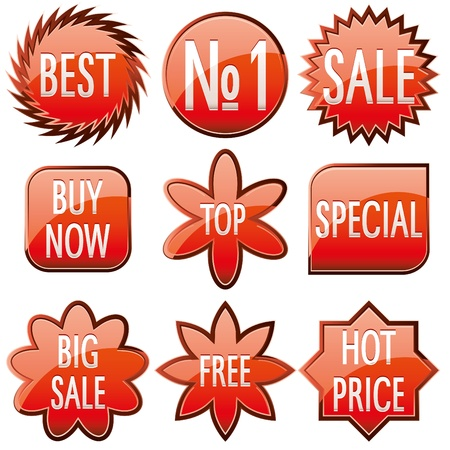 sell off: Set of red shiny sale buttons, vector illustration