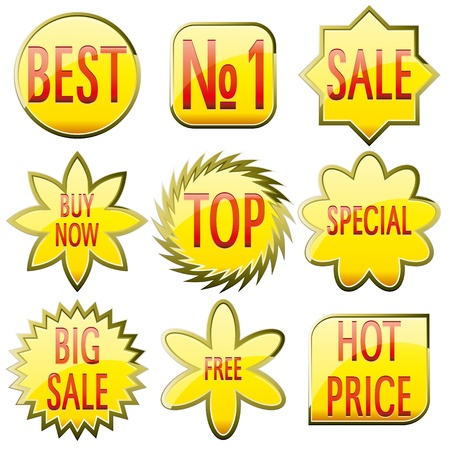 Set of shiny yellow glass sale buttons with red text, vector illustration Vector