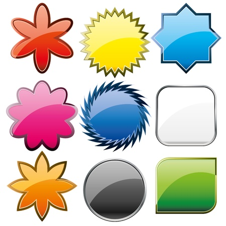 blue button: Set of shiny colorful glass buttons, vector illustration