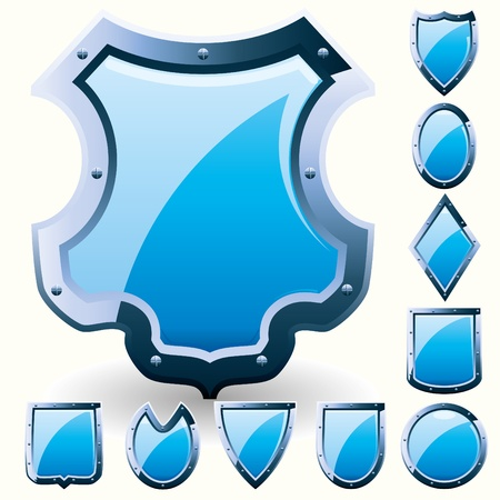 buckler: Set of security shield, coat of arms symbol icon, blue, vector illustration  Illustration