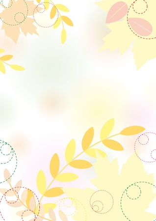 Pastel autumn background with maple leaves, pastel colors. Vector