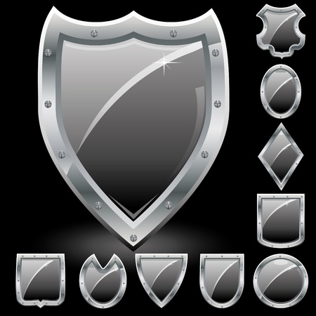 metal shield: Set of security shields, coat of arms symbol icons, black.