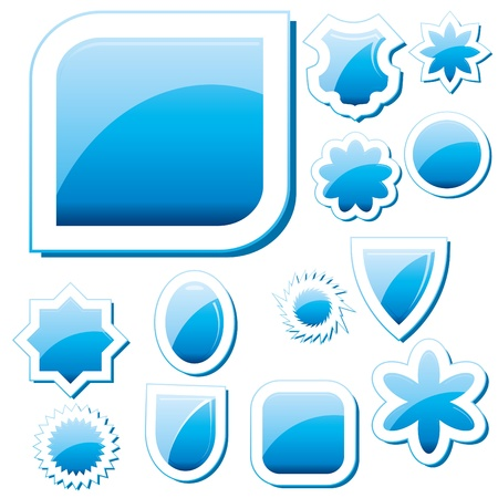 Set of blue glass buttons, glossy icons, web spheres Vector