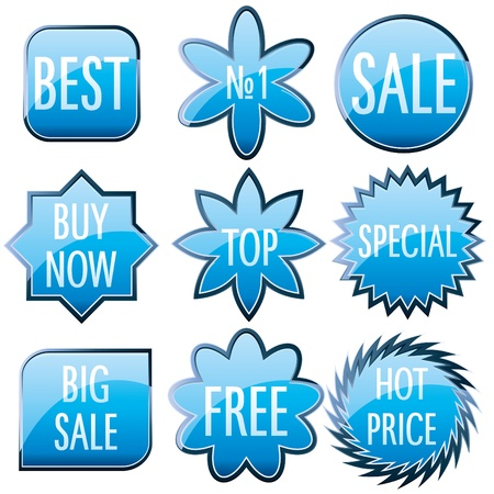 Set of blue shiny colorful glass buttons Vector