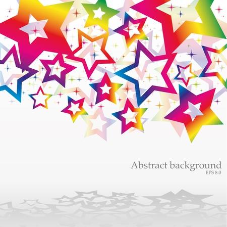 arcobaleno astratto: Bacground astratta con arcobaleno stelle, illustrazione vettoriale