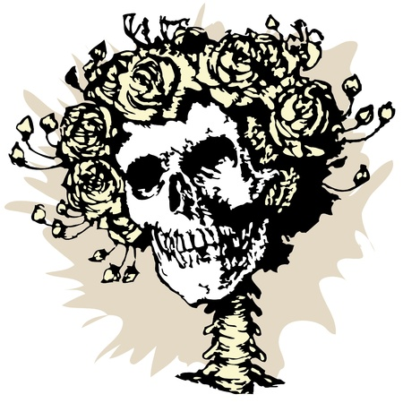 scull: Skull in roses crown, vector illustration Illustration