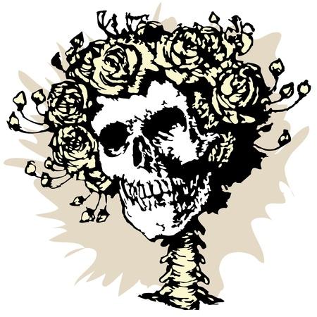 decease: Skull in roses crown, vector illustration Illustration