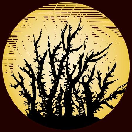 burning bush: Scary background with burning bush, vector illustration