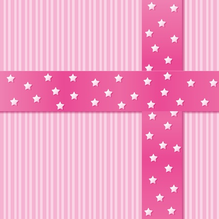 Card for greeting or congratulation with the pink ribbon. Vector illustration eps 10.0