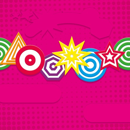 Retro pink background with funny elements, vector illustration Vector