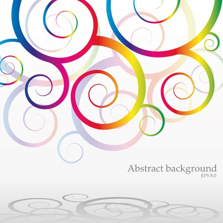 rainbow circle: Abstract bacground with rainbow curls, vector illustration