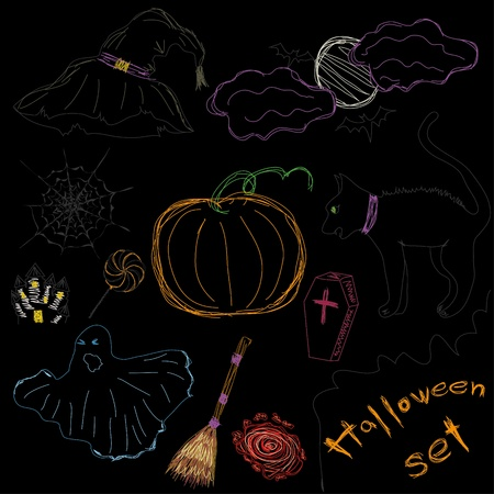 Halloween Icons A collection of fun Halloween icons. Scetch drawing. Vector illustration Vector